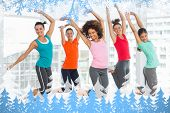 stock photo of zumba  - Composite image of snow frame against zumba class in gym - JPG
