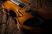 pic of mozart  - violin in vintage style on wood background - JPG