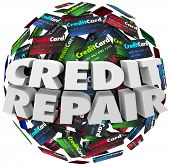 image of borrower  - Credit Repair words in white 3d letters on a ball or sphere of cards - JPG