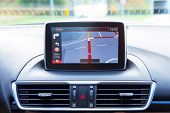 stock photo of luxury cars  - Navigation device in the car - JPG