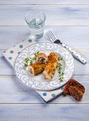 picture of swordfish  - breaded swordfish stuffed with dried tomatoes - JPG