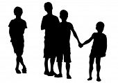 stock photo of exaltation  - Silhouettes of young children on a white background - JPG
