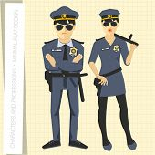 picture of officer  - Police officers in flat modern style - JPG