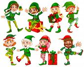 stock photo of elf  - Illustration of many elfs with presents - JPG