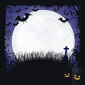pic of spooky  - Distressed blue background with dark Halloween themed frame - JPG