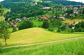 image of bavarian alps  - Bavarian landscape at Alps with rural village - JPG