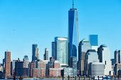 pic of freedom tower  - New York City Manhattan skyline with One World Trade Center Tower  - JPG