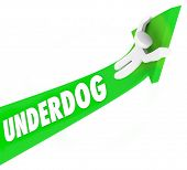 image of underdog  - Underdog word on 3d green arrow as man rides upward in a game or competition for an unexpected win - JPG