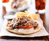 stock photo of gyro  - open greek gyros with fries and cola - JPG