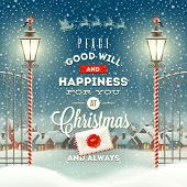 foto of greeting card design  - Christmas greeting type design with vintage street lantern against a evening rural winter landscape  - JPG