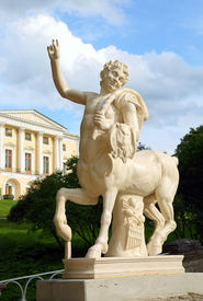 foto of centaur  - centaur on bridge and palace in Pavlovsk park St - JPG