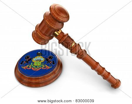 Wooden Mallet and flag Of Pennsylvania (clipping path included)