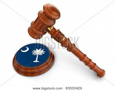 Wooden Mallet and flag Of South Carolina (clipping path included)