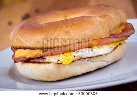 Ham Cheese and Egg Breakfast Bagel Sandwich