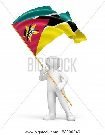 Man and Mozambique flag (clipping path included)