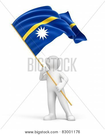 Man and Nauru flag (clipping path included)