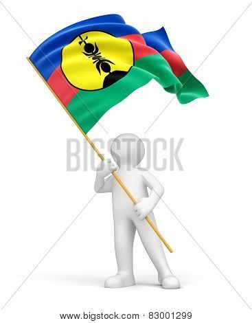 Man and New Caledonia flag (clipping path included)