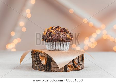 Chocolate Cake On A Stand Made From Natural Wood