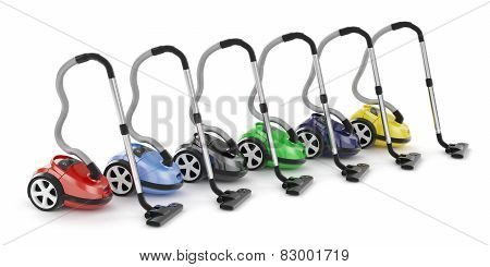 Colorful Vacuum Cleaners Row Isolated On White