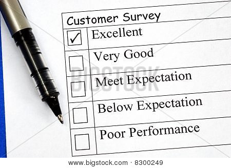 Customer fills in the feedback survey isolated on blue