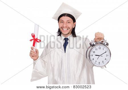 Student missing his deadlines with clock on white