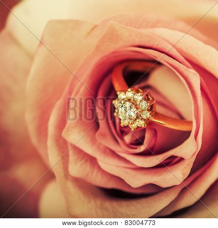 Diamond Engagement Ring In Rose Flower
