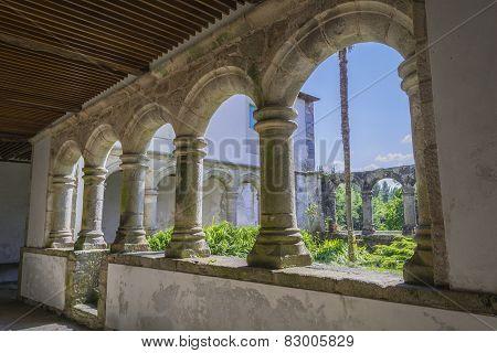 Columns Of The Cloister Of A Monastery, Santa María De Ferreira De Pallares