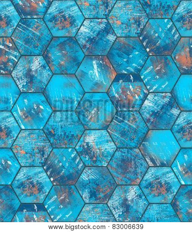 Hexagonal Blue Grungy Metal Tiled Seamless Texture