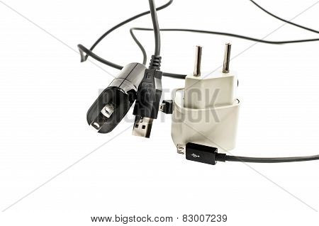 Different Plugs With Wires For Power Supply And Adapters