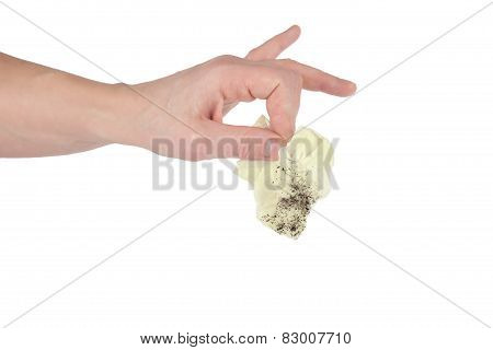 Hand Hold Dirty Handkerchief Isolated On White