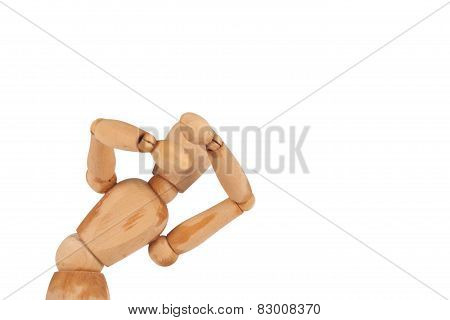 Manikin Figure Take Shelter Isolated On White