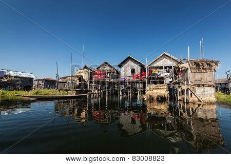 Stilted houses in village on Inle lake, Myanmar
