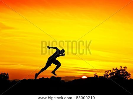 man running down the mountain