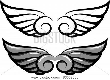 Set. Two Pairs Of Wings. Black And Colored