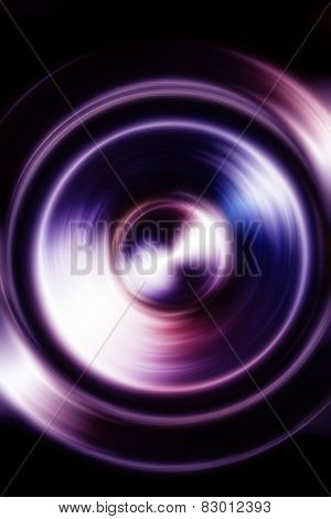 Music Icon Speaker With Fractal Color Blur Effect On Black Background