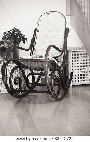 Retro Rocker Wooden Swing Chair On Wood Floor As A Vintage Memories With Interior Flower Black And W
