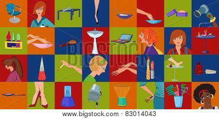 Beauty Salon Mosaic Body Parts Banner