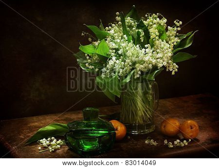 Lilies Of The Valley And Peaches And Glass Casket
