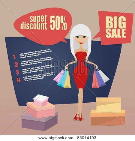 Girl or woman on shopping sale holding bags. Retro style