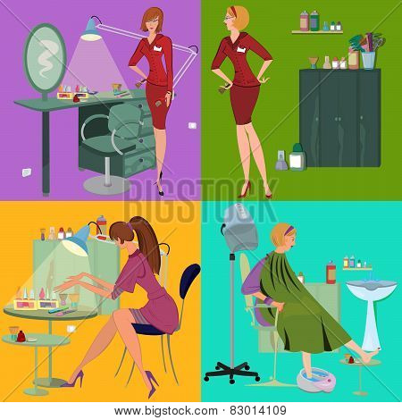 Beauty Salon Spa Employees Flat People And Furniture
