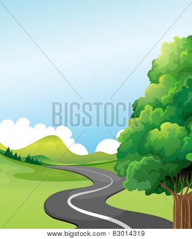 Illustration of a road to the countryside