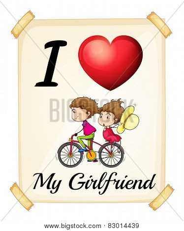 Illustration of I love my girlfriend sign