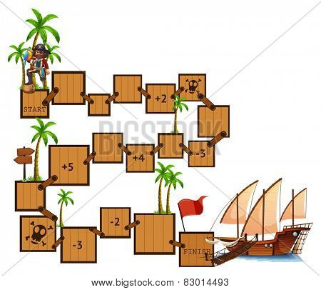 Illustration of a boardgame with pirate and sail