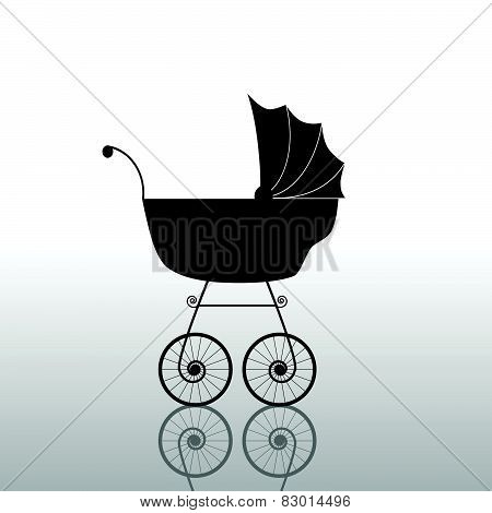 Baby Stroller Ancient Black Vector