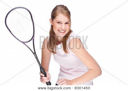 Woman With Squash Racket
