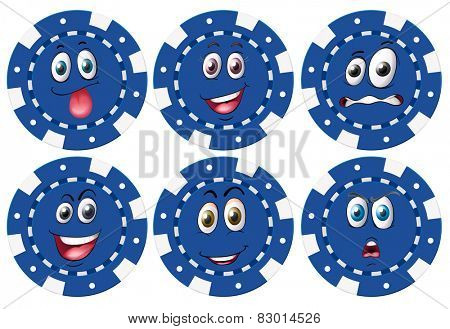 Illustration of chips with facial expressions