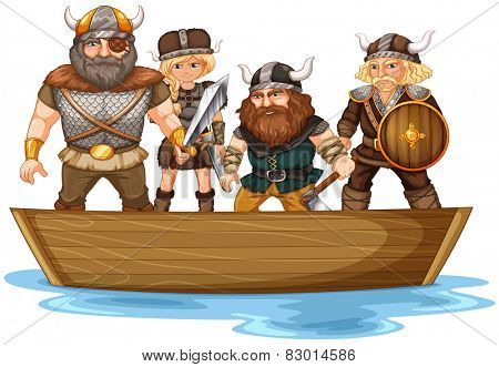 Illustration of many vikings on a boat