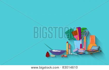 Beauty Spa Salon Blue Background