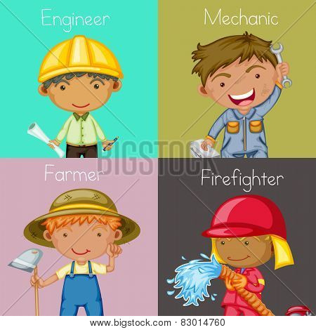 Illustration of four different occupations