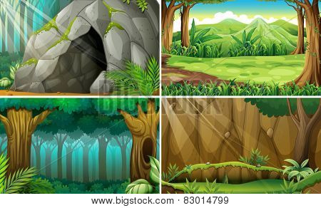 Illustration of four scenes of forests and a cave